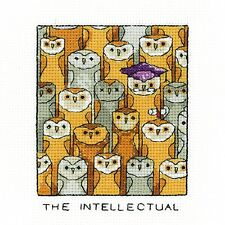 HERITAGE CRAFTS THE INTELLECTUAL OWL COUNTED CROSS STITCH KIT PETER UNDERHILL