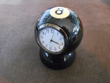 Handmade Billiard, Pool Ball Desk Clock W/Base 8-Ball  - Great Unique Gift!