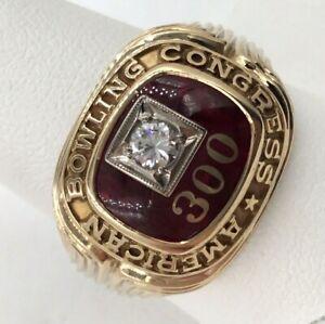 1960's 10k Yellow Gold .15ct Diamond American Bowling Congress Ring Size 11.75