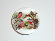 """Three Little Birds on Branches Button on Mother of Pearl MOP Shank Button 1+3/8"""""""