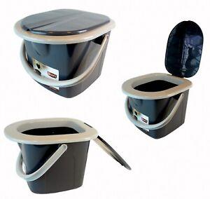 BranQ Portable Camping Toilet WC 15,5L Bucket w Seat Detachable Lid Trip Travel