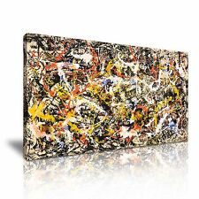 Jackson Pollock Abstract Stretched Canvas Wall Art Picture Print 60x30cm