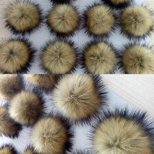 Raccoon 2x 10cm Large Faux Fur Pom Pom Ball with Press Button for Knitting Hat