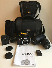 Nikon D5100 16.2mp DSLR Camera & VR 55-300 - VR 18-55 - Battery - Cases - Manual