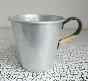 50s 60s Vintage 1 Pint Metal Measuring Jug Green Cream Enamel Handle Shabby Chic