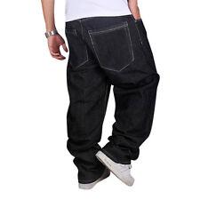 Mens Jeans Black Blue Baggy Loose Denim Hip-Hop Rap Skateboard Pants Streetwear
