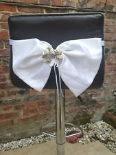 10 Large White Satin Pre Tied Bows, Shabby Chic Roses For Wedding Hessian Sash