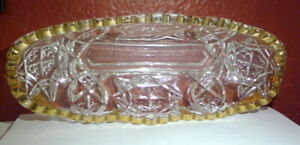 Antique American Brilliant Cut Glass Relish Dish Clear with Gold Gilt