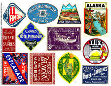 Luggage Labels, 2 Sticker Sheets, Hotel Baggage Labels, Vintage Travel Art Paper