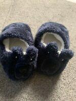 Pantofole invernali coniglietto in pelo, suola antiscivolo, blu, bimbo 4/6 anni