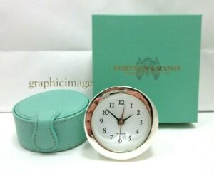 Fortnum & Mason Piccadilly Travel Clock Quartz Leather Case New in Box w Battery