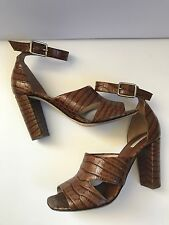 Dries Van Noten Crocodile Embossed Leather Sandals, Size 38