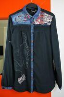 DESIGUAL #38C2207 Roll-up Long Sleeve Button Front Dark Blue Shirt size Medium