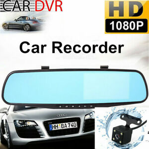 4.3'' Car DVR HD 1080P Dual Lens Auto Mirror Dash Cam Recorder Rearview Video