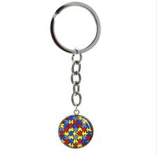 Autism Awareness Puzzle Pieces Diversity Round Chrome Metal Keychain FREE SHIP!