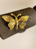 Vintage Butterfly Damascene Metal Gold Tone Brooch Pin