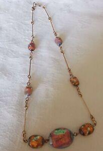 Vintage Foil Glass Pretty Necklace