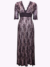 New-Black Lace Long Dress-Blush Pink Lining-Half Sleeves-Party/Evening Gown-16