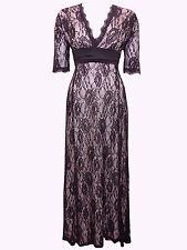 Nouveau-dentelle noire robe longue-Rose Blush Doublure-manches mi-longues-Party/Robe de soirée - 16
