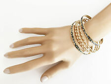Fab Set of 5 Thin Animal Print Glitter and Twist Design Gold Tone Bangles Bracel