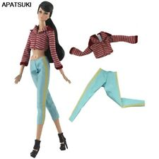 """1set Red Stripe Top Coat Blue Trousers Pants For 11.5"""" 1/6 Doll Clothes Outfits"""
