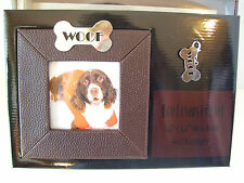 "Mud Pie Dog Photo Frame ""WOOF"" Engraveable Dog Tag & Gift Boxed PUPPY PICTURE"