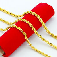 Mens 3mm 24K Yellow Gold Filled Rope Chain Necklace Long 20 22 24 26 28 30 inch