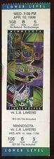 Ticket NBA Minnesota 1995 - 96 4/10 Los Angeles Lakers Kevin Garnett RC Rookie M