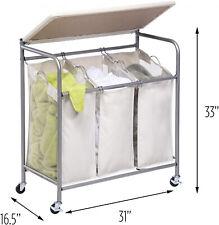 3 Bin Laundry Room Sorter Hamper Basket Ironing Board Combo Beige with Wheels
