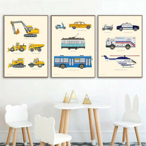 Nordic Kids Education Wall Art Poster Vehicle Car Nursery Canvas Painting  Decor
