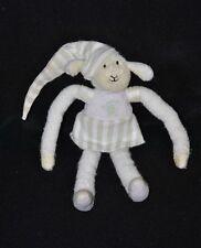 Peluche doudou mouton LUMINOU vert blanc robe rayée luminescent 20 cm TTBE