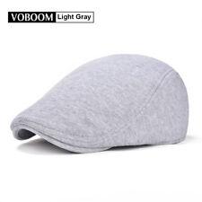 100% Cotton L-Grey Men's Ivy Hat Newsboy Gatsby Cap Golf Flat Cap Cabbie Beret