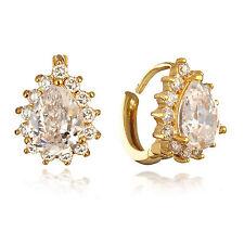 COPPIA 18K Gold Filled CLEAR CRYSTAL ORECCHINI A CERCHIO abbraccino CUORE Huggy Jewelry
