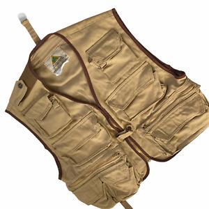 Vintage StanSport Fly Fishing Vest Medium 8 Front Pockets Back Pouch Tan Beige
