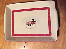 "Royal Seasons Stoneware ""Snowman"" 13 x 9"" Baking Dish Casserole"