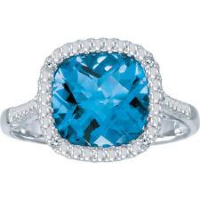 14k White Gold Cushion Blue Topaz and Diamond Ring (Size 9.5)