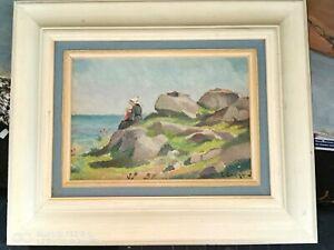 Tableau Huile sur bois Bretagne vue poétique Ploumanach les rochers par EVENOU