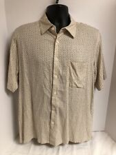 Vintage Silk Circa 1969 Mens Cream S/S Camp Shirt Sz LARGE Button Down