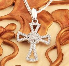 echt Silber 925 Sterlingsilber Kreuz Anhänger panzerkette Hals kette 50 cm Damen