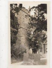 Manaccan Church Tower & Fig Tree Cornwall Vintage RP Postcard 846a