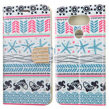 for LG G5 - BLUE TRIBAL SEA STAR FISH Credit Card Wallet Pouch Folio Case Cover