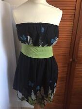 Miss Posh Black And Green Strapless Puff Hem Dress Size 12 New