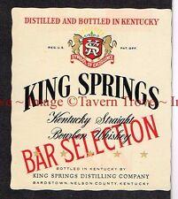 1930s KENTUCKY Bardstown King Springs Distillery Straight Bourbon Whiskey label