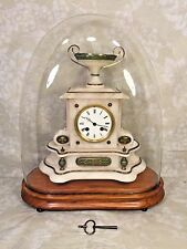 French Onyx Clock Bell Chime Runs Brass Green Colored Trim Glass Dome & Base