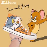 SNEAKERS unisexe  HOMMES chaussures baskets montante recustemisé TOM & JERRY