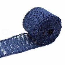 "2"" Burlap Ribbon - Navy Blue Color - 10 Yards - Finished Edge - Jute Fabric"