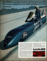 1969 Car world land speed record Autolite parts vintage photo Print Ad adL42