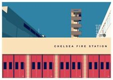 Chelsea Fire Station graphic design giclée print size A3