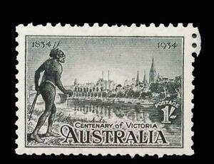 SG149 - 1934 Australia Black 1/- Shilling Stamp Mint Never Hinged CV $110 - 16a