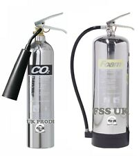 DESIGNER CHROME Fire extinguisher set 2kg CO2+6ltr  Foam Home Office Workplace